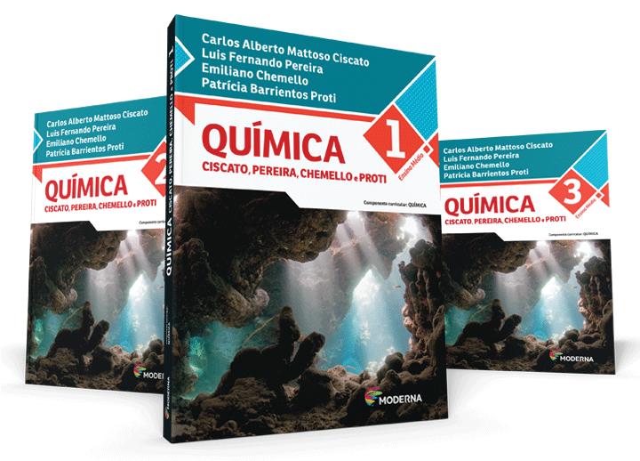 Capas dos três livros da coleção Química - Ciscato, Pereira, Chemello e Pro
